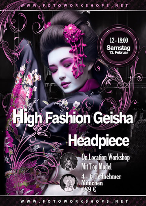 High Fashion Geisha Headpiece Fotoworkshop am 13.2.