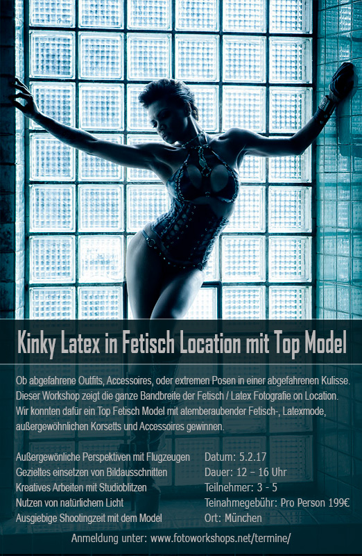 Kinky Latex Fotoworkshop in Fetisch Location mit Top Model