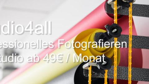 Studio4all – Professionelles Fotografieren im Studio ab 49€ / Monat