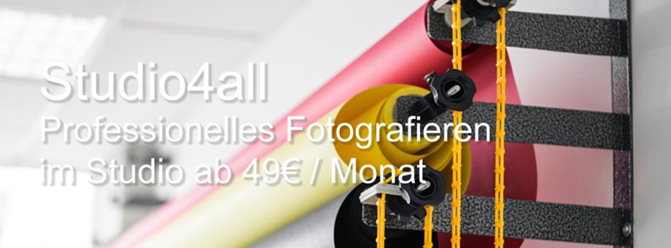 Studio4all - Professionelles Fotografieren im Studio ab 49€ / Monat