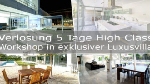 Verlosung von 5 Tage High Class Workshoplatz in exklusiver Designer Luxusvilla im Wert von 1180€
