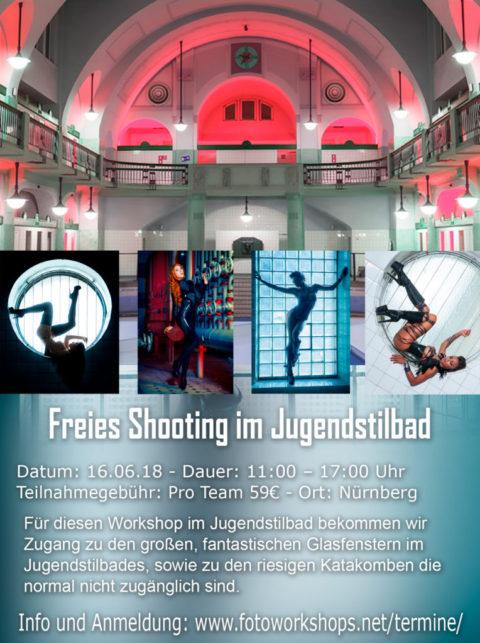 Freies Shooting im Jugendstilbad mit den fantastischen Kellergewölben und Glasbausteinfenster am 16.6.18
